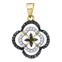 0.25 CTW Black Color Diamond Cluster Pendant 10KT Yellow Gold - REF-14M9H