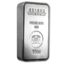 Genuine 10 oz 0.999 Fine Silver Bar - Geiger Security Series
