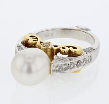 10.44 CTW Pearl Gemstone Ring Two Tone Yellow Gold - REF-151W5K