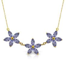 Genuine 4 ctw Tanzanite Necklace Jewelry 14KT Yellow Gold - REF-86N3R