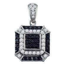 0.48 CTW Black Color Diamond Square Cluster Pendant 10KT White Gold - REF-34W4K
