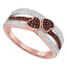 0.20 CTW Red Color Diamond Double Heart Love Ring 10KT Rose Gold - REF-30W2K