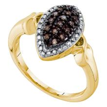 0.22 CTW Cognac-brown Color Diamond Oval Cluster Ring 10KT Yellow Gold - REF-19H4M