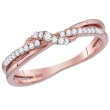 0.16 CTW Diamond Crossover Stackable Ring 10KT Rose Gold - REF-18W6K