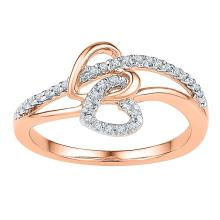 0.20 CTW Diamond Double Joined Heart Ring 10KT Rose Gold - REF-19X4Y