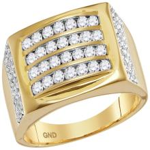 1.3 CTW Mens Diamond Arched Square Cluster Ring 14KT Yellow Gold - REF-127X4Y