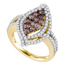 1.55 CTW Cognac-brown Color Diamond Wide Cluster Ring 10KT Yellow Gold - REF-104H9M