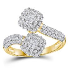 1.97 CTW Princess Diamond 2-stone Hearts Together Bridal Ring 14KT Yellow Gold - REF-224N9F
