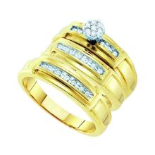 0.22 CTW His & Hers Diamond Cluster Matching Bridal Ring 10KT Yellow Gold - REF-49X5Y