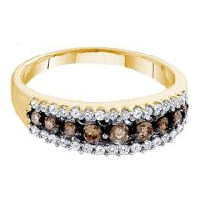 0.50 CTW Cognac-brown Color Diamond Ring 10KT Yellow Gold - REF-22F4N