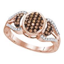 0.33 CTW Cognac-brown Color Diamond Oval Cluster Ring 10KT Rose Gold - REF-22W4K