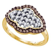 0.45 CTW Cognac-brown Color Diamond Cluster Ring 10KT Yellow Gold - REF-31X4Y