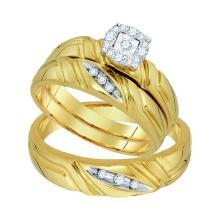 0.16 CTW Diamond Matching Mens Halo Trio Wedding Bridal Ring 10KT Yellow Gold - REF-41F9N