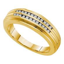 0.20 CTW Mens Diamond Double Row Ridged Ring 14KT Yellow Gold - REF-67K4W