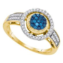 0.35 CTW Blue Color Diamond Circle Cluster Ring 10KT Yellow Gold - REF-25F4N