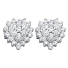 0.25 CTW Diamond Heart Screwback Earrings 10KT White Gold - REF-14W9K