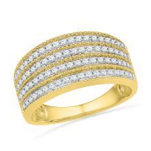 0.50 CTW Diamond Four Row Milgrain Ring 10KT Yellow Gold - REF-47M9H