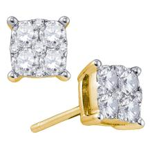 0.68 CTW Diamond Cluster Screwback Earrings 18KT Yellow Gold - REF-134N9F