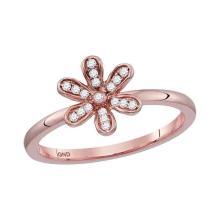 0.10 CTW Diamond Flower Floral Stackable Ring 10KT Rose Gold - REF-18K2W
