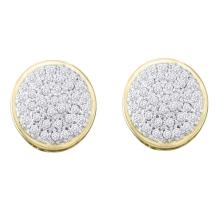 0.20 CTW Diamond Circle Cluster Stud Earrings 10KT Yellow Gold - REF-18Y2X