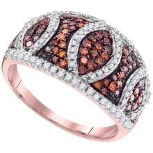 0.75 CTW Red Color Diamond Symmetrical Ring 10KT Rose Gold - REF-44F9N