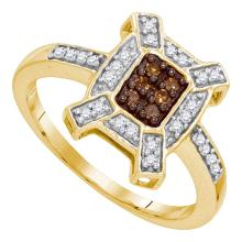 0.20 CTW Cognac-brown Color Diamond Square Ring 10KT Yellow Gold - REF-18K2W