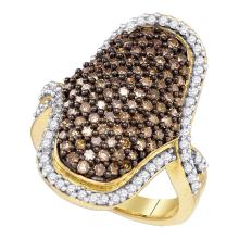 1.73 CTW Brown Color Diamond Wide Cocktail Ring 10KT Yellow Gold - REF-71X9Y