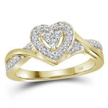 0.25 CTW Diamond Heart Love Ring 10KT Yellow Gold - REF-28W4K