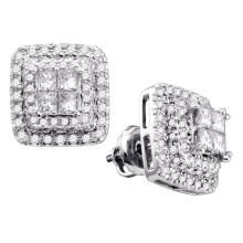 1 CTW Princess Diamond Square Cluster Earrings 14KT White Gold - REF-119X9Y