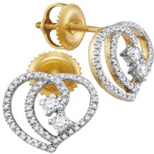0.25 CTW Diamond 2-stone Heart Earrings 10KT Yellow Gold - REF-22Y4X