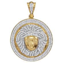 1 CTW Mens Diamond Gorgon Medusa Circle Medallion Charm Pendant 10KT Yellow Gold - REF-89N9F