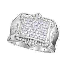 1.08 CTW Mens Princess Diamond Symmetrical Square Cluster Ring 10KT White Gold - REF-93K7W