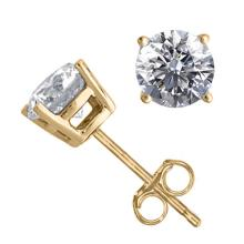 14K Yellow Gold Jewelry 1.54 ctw Natural Diamond Stud Earrings - REF#394Y9X-WJ13332