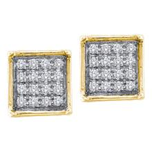 0.05 CTW Diamond Square Cluster Earrings 10KT Yellow Gold - REF-7W4K
