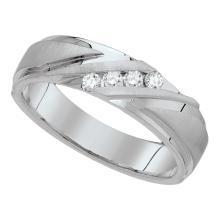 0.25 CTW Mens Channel-set Diamond Wedding Anniversary Ring 10KT White Gold - REF-56M2H