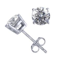 14K White Gold Jewelry 1.52 ctw Natural Diamond Stud Earrings - REF#394M9K-WJ13298