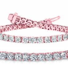 Natural 7ct VS-SI Diamond Tennis Bracelet 14K Rose Gold - REF-592F3W