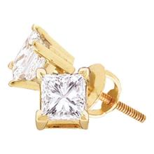 0.16 CTW Princess Diamond Solitaire Stud Earrings 14KT Yellow Gold - REF-14M9H
