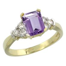 Natural 1.48 ctw amethyst & Diamond Engagement Ring 10K Yellow Gold - REF-43V3F