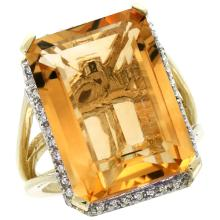 Natural 15.06 ctw Citrine & Diamond Engagement Ring 14K Yellow Gold - REF-81N9G