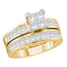 2 CTW Princess Diamond Bridal Engagement Ring 14KT Yellow Gold - REF-209H9M