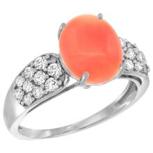 Natural 2.35 ctw coral & Diamond Engagement Ring 14K White Gold - REF-56H6W