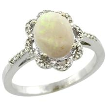 Natural 1.15 ctw Opal & Diamond Engagement Ring 14K White Gold - REF-38K2R