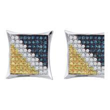 0.23 CTW Mens Blue Yellow Color Diamond Square Kite Earrings 10KT White Gold - REF-12F2N