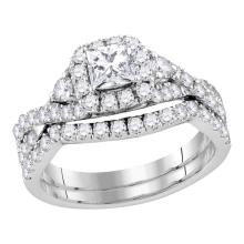1.48 CTW Princess Diamond Solitaire Halo Bridal Engagement Ring 14KT White Gold - REF-224X9Y