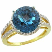Natural 5.34 ctw London-blue-topaz & Diamond Engagement Ring 14K Yellow Gold - REF-46F9N