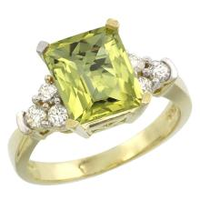 Natural 2.86 ctw lemon-quartz & Diamond Engagement Ring 10K Yellow Gold - REF-52K7R