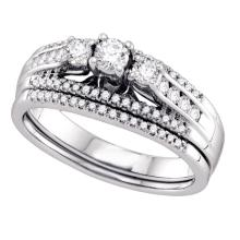 0.50 CTW 3-stone Diamond Wedding Bridal Engagement Ring 14k White Gold - REF-82N4F