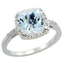 Natural 3.92 ctw Aquamarine & Diamond Engagement Ring 14K White Gold - REF-58A2V