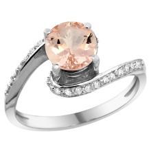 Natural 0.94 ctw morganite & Diamond Engagement Ring 14K White Gold - REF-56G2M